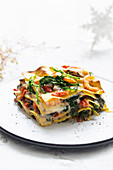 Lasagne with rapini and seafood