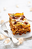 Lasagne with meat and cheese sauces