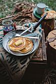 Camping breakfast pancakes