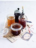 Four glazes - Ginger Glaze, Herb and Garlic Glaze, Orange and Maple Glaze, Chilli Jam and Star Anise Glaze