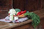 Molke, Molkepulver und frisches Gemüse