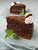Chocolate cream cake with cream and peppermint