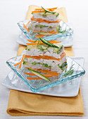 Trout millefeuille with carrots, courgettes and dill