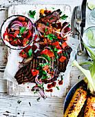 Portuguese Steak with Parmesan and Paprika Corn