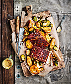 Maple glazed ham with Brussels sprouts and potatoes