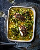 Kabeljau mit Misobutter, Sesam, Brokkoli und Bohnen