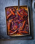 Rotkohl mit Quittenglasur und Chorizo