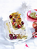 Panettone ice-cream with pistachio crumble