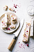 Cocoa butter nougat with raspberries and almonds