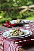 Stinging nettle risotto with cream cheese