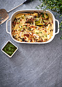 Cheesy leek and wild mushroom bake with chimichurri