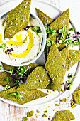 Salted spinach, fennel and buchu crackers