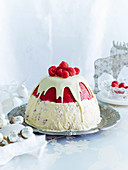 Raspberry and Nougat Ice-Cream Pudding