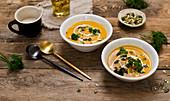 Creamy pumpkin soup with coconut milk