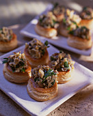 Vol au vents filled with mushrooms