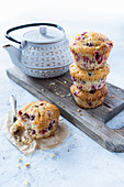 Muffins with cranberry and white chocolate