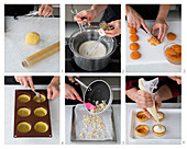 Apricot tartlets with chilli cream being made
