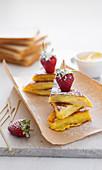 Vanilla cream sandwiches with strawberries
