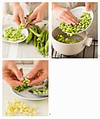 Peeling fava beans