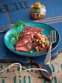 Beef steak with Mexican vegetable salsa