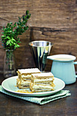 Puff pastry slices with vanilla cream (millefeuille)