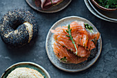 Poppyseed bagels with gravlax