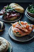 Bagels with gravlax