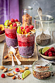Chia pudding with berry puree