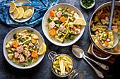 Salmon and veggies soup