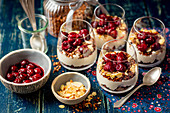 Yogurt mousse with chocolate granola and cherrie