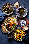 Roast Chicken with Grilled Brussels Sprouts, Chanterelles and Roasted Potatoes