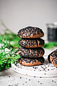 Tahini Cookies with Black Sesame Seeds