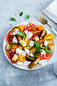Caprese salad with croutons