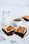 Espresso coffee brownies with caramel sauce