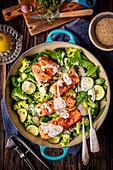 Salmon with veggies and lemon-thyme sauce