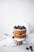 Vanilla Layer Cake With A Buttercream Frosting and Blackberry Jam