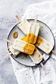 Mango Yoghurt And Honey Cheesecake Popsicles