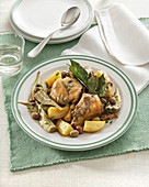 Vermentino rabbit with artichokes, olives and potatoes