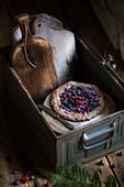 Berry galette in a rustic box