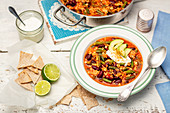 Turkey stew with red kidney beans and green beans