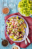 Buckwheat and beetroot salad with grapes and feta