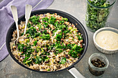 Rice with aubergine and kale