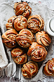Group of cardamom buns on a napkin