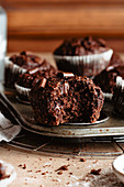 Bitten healthy chocolate muffin