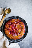 Chestnut Plum Upside-Down Cake (gluten-free)