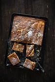 Rhabarberkuchen auf Backblech