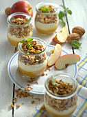 Muesli with apple sauce, yogurt and granola