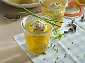 Liver dumpling soup in glasses