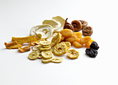 Various dried fruits on a white background