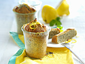 Small lemon and poppy seed cakes baked in glasses